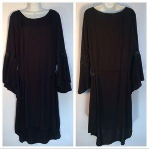 2X Black Tunic Dress Bell Sleeves